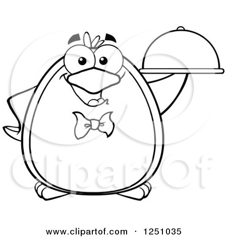 Clipart of a Black and White Penguin Character Waiter - Royalty Free Vector Illustration by Hit Toon