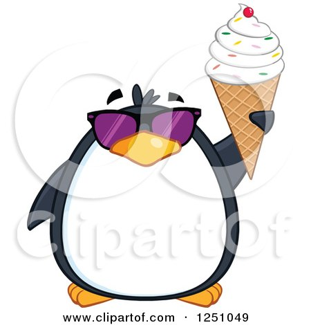Clipart of a Penguin Character in Sunglasses Holding up a Waffle Cone - Royalty Free Vector Illustration by Hit Toon