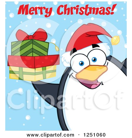 Clipart of a Penguin Character Holding Gifts and Saying Merry Christmas - Royalty Free Vector Illustration by Hit Toon