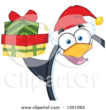 Clipart of a Penguin Character Holding Gifts - Royalty Free Vector Illustration by Hit Toon