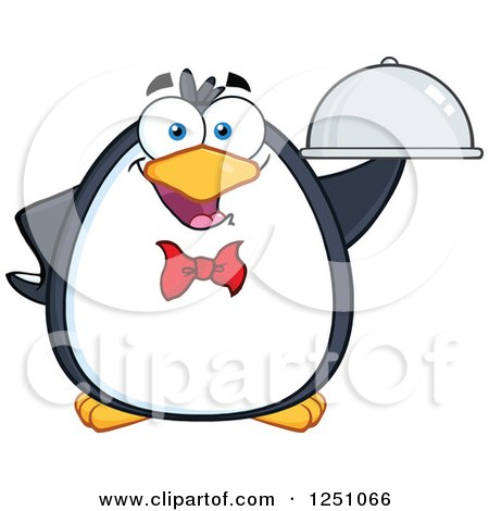 Clipart of a Penguin Character Waiter - Royalty Free Vector Illustration by Hit Toon