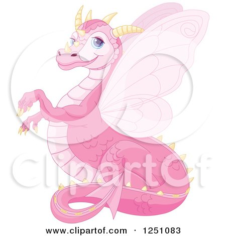 Clipart of a Cute Pink Dragon Smiling - Royalty Free Vector Illustration by Pushkin