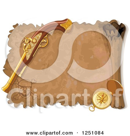 Clipart of a Aged Treasure Map Scroll with a Pistol and Compass - Royalty Free Vector Illustration by Pushkin
