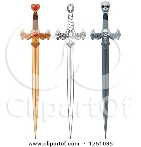 Clipart of Gold Black and White and Skull Swords - Royalty Free Vector Illustration by Pushkin