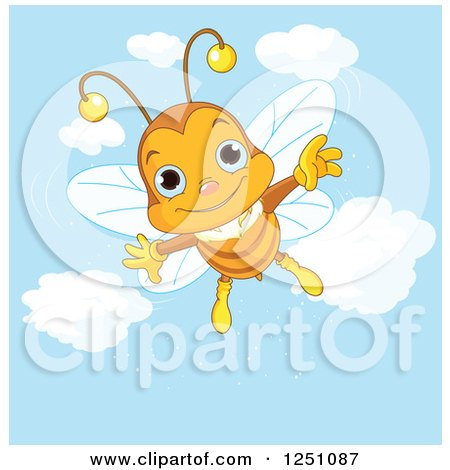 Clipart of a Happy Bee Flying in a Blue Sky - Royalty Free Vector Illustration by Pushkin