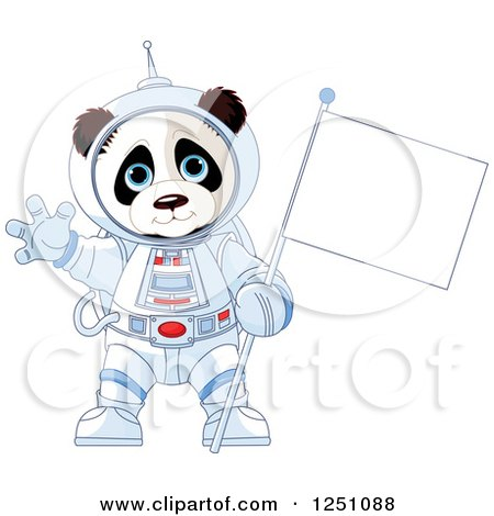 Clipart of a Cute Panda Astronaut Holding a Flag and Waving - Royalty Free Vector Illustration by Pushkin