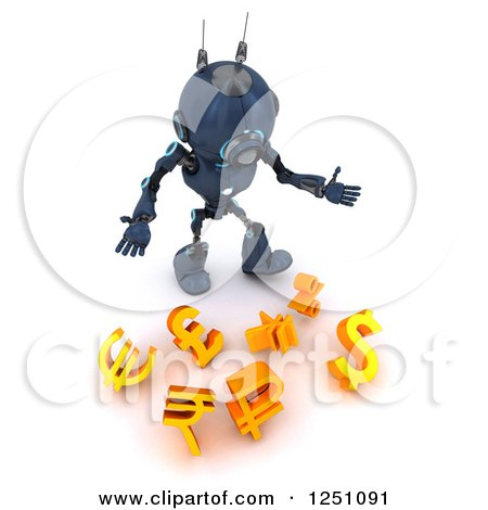 Clipart of a 3d Blue Android Robot Dropping Currency Symbols - Royalty Free Illustration by KJ Pargeter