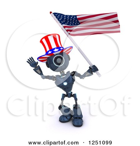 Clipart of a 3d Blue Android Robot Uncle Same Waving an American Flag - Royalty Free Illustration by KJ Pargeter