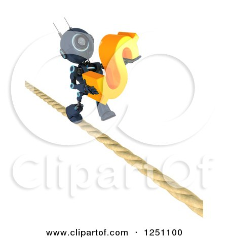 Clipart of a 3d Blue Android Robot Carrying a Dollar Symbol on a Tight Rope - Royalty Free Illustration by KJ Pargeter