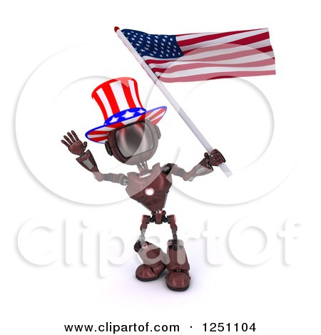 Clipart of a 3d Red Android Robot Uncle Same Waving an American Flag - Royalty Free Illustration by KJ Pargeter