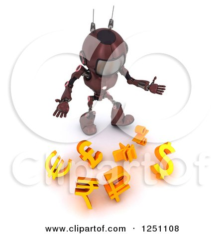 Clipart of a 3d Red Android Robot Dropping Currency Symbols - Royalty Free Illustration by KJ Pargeter