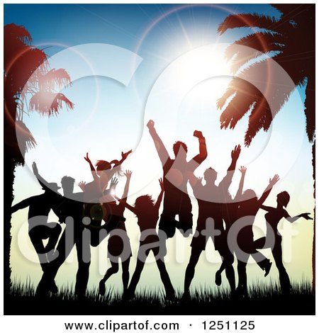 Clipart of Silhouetted People Jumping and Dancing Between Palm Trees at Sunset - Royalty Free Vector Illustration by KJ Pargeter