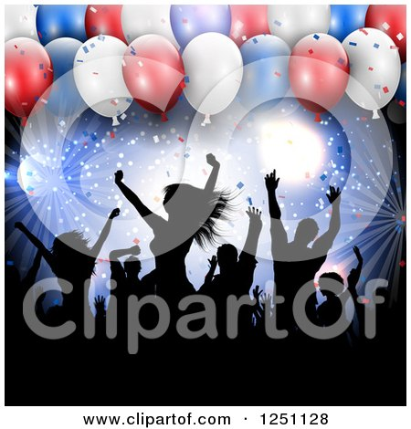 Clipart Of Silhouetted People Dancing Against Lights And 3d Independence Day Party Balloons Royalty Free Vector Illustration
