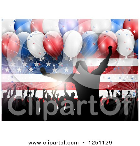 Clipart of a Light Burst, 3d Party Balloons and Silhouetted People Dancing over an American Flag - Royalty Free Vector Illustration by KJ Pargeter