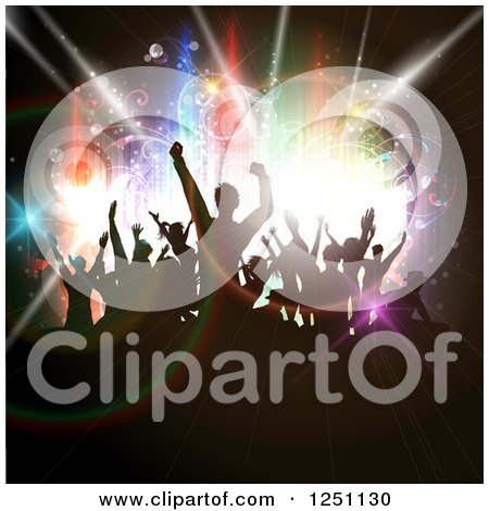 Clipart of Silhouetted Dancing People over Circles and Colorful Lights - Royalty Free Vector Illustration by KJ Pargeter