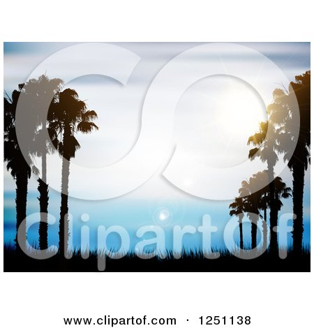 Clipart of Silhouetted Palm Trees and Grass over Blue Sky with Flares - Royalty Free Vector Illustration by KJ Pargeter