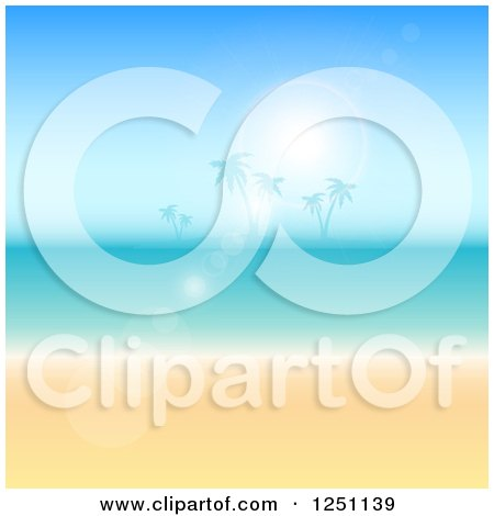 Clipart of a Sun Flare over a Tropical Island, Ocean and Beach - Royalty Free Vector Illustration by KJ Pargeter