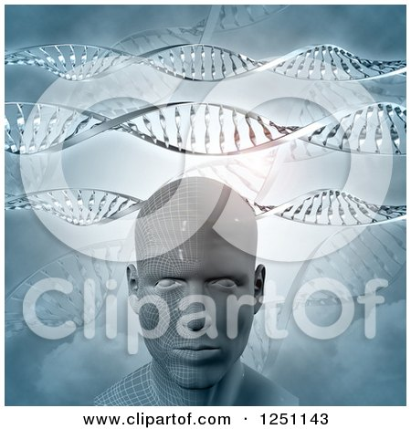 Clipart of a 3d Virtual Man with Dna Strands - Royalty Free Illustration by KJ Pargeter