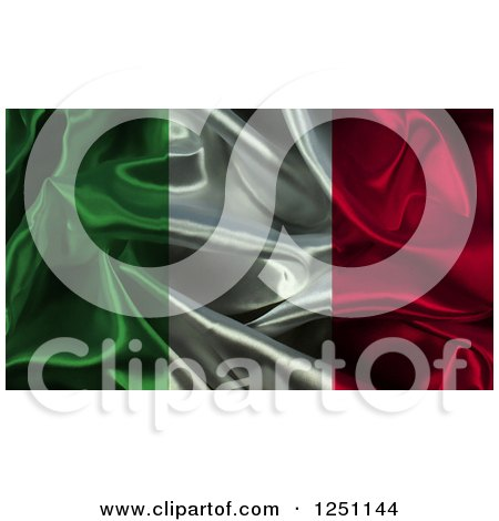 Clipart of a 3d Crumpled Italian Flag Background - Royalty Free Illustration by KJ Pargeter