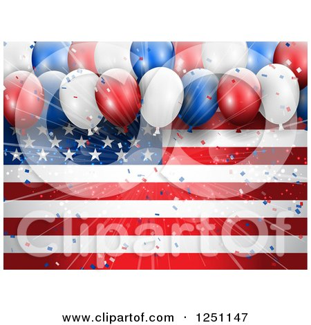 Clipart of a Burst of Light and 3d Party Balloons over an American Flag - Royalty Free Vector Illustration by KJ Pargeter