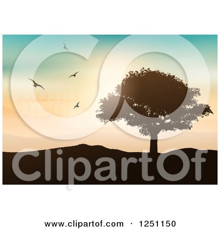 Clipart of Birds Flying over a Lone Tree and Hilly Landscape with Wind Turbines - Royalty Free Vector Illustration by KJ Pargeter