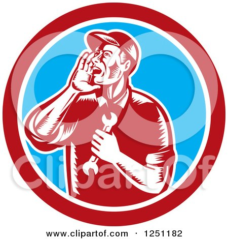 Clipart of a Retro Woodcut Male Mechanic Holding a Spanner Wrench and Calling out in a Circle - Royalty Free Vector Illustration by patrimonio