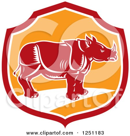 Clipart of a Retro Woodcut Rhino in a Red and Orange Shield - Royalty Free Vector Illustration by patrimonio