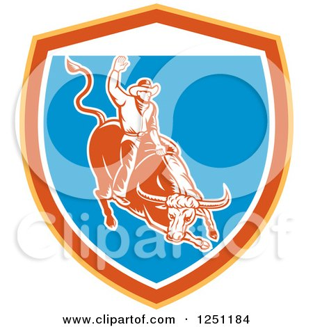 Clipart Of A Retro Woodcut Rodeo Cowboy On A Bull In A Yellow Orange White And Blue Shield Royalty Free Vector Illustration