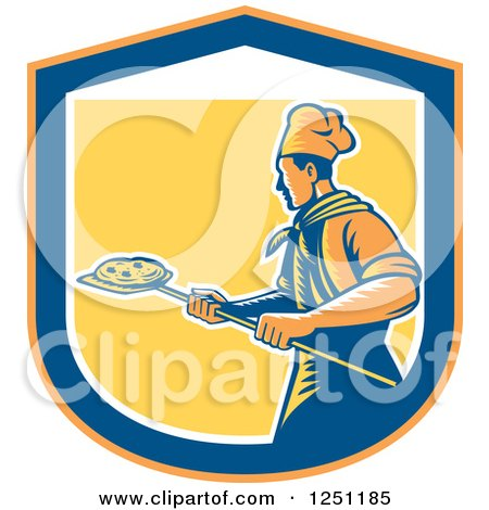 Clipart of a Retro Woodcut Chef with a Pizza on a Peel Inside a Shield - Royalty Free Vector Illustration by patrimonio