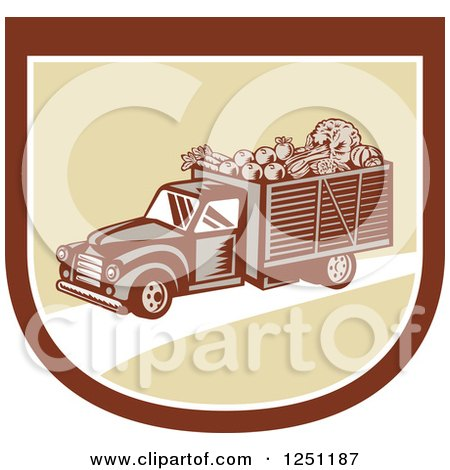 Clipart of a Retro Woodcut Produce Delivery Truck in a Shield - Royalty Free Vector Illustration by patrimonio