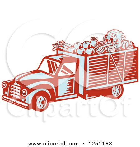 Clipart of a Retro Woodcut Produce Delivery Truck - Royalty Free Vector Illustration by patrimonio