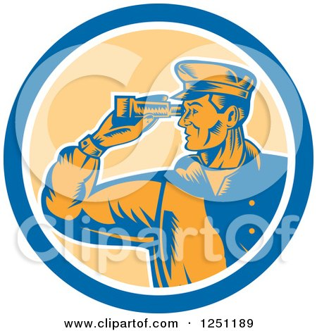 Clipart of a Retro Male Sea Captain Using Binoculars in a Circle - Royalty Free Vector Illustration by patrimonio