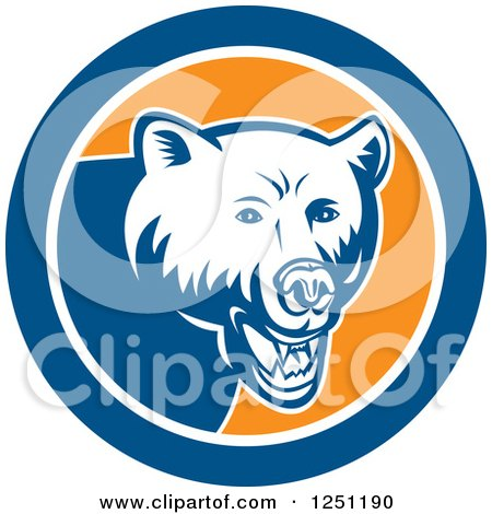 Clipart of a Retro Woodcut Grizzly Bear in a Blue and Orange Circle - Royalty Free Vector Illustration by patrimonio