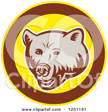 Clipart of a Retro Woodcut Grizzly Bear in a Brown and Yellow Circle - Royalty Free Vector Illustration by patrimonio