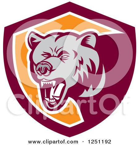 Clipart of a Retro Woodcut Grizzly Bear Roaring in a Maroon and Orange Shield - Royalty Free Vector Illustration by patrimonio