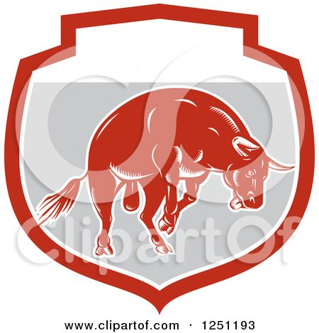 Clipart of a Retro Woodcut Angry Red Bull in a Gray Shield - Royalty Free Vector Illustration by patrimonio
