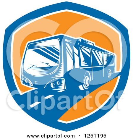 Clipart of a Retro Woodcut Coach Bus in a Blue and Orange Shield - Royalty Free Vector Illustration by patrimonio