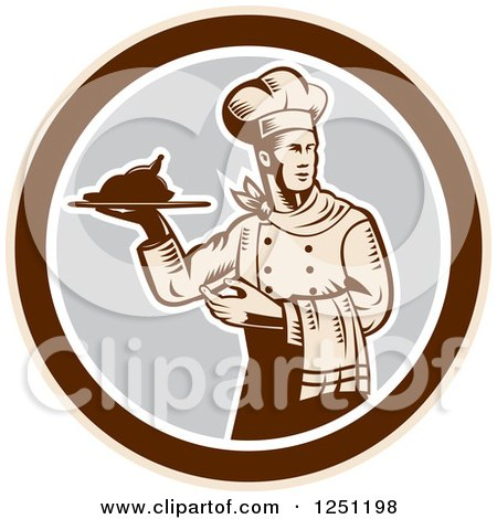 Clipart of a Retro Woodcut Male Chef Serving a Roasted Chicken in a Gray and Brown Circle - Royalty Free Vector Illustration by patrimonio