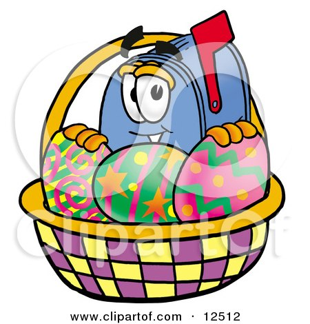 Clipart Picture of a Blue Postal Mailbox Cartoon Character in an Easter Basket Full of Decorated Easter Eggs by Toons4Biz