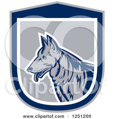 Clipart of a Retro Woodcut German Shepherd Dog in a Gray and Blue Shield - Royalty Free Vector Illustration by patrimonio