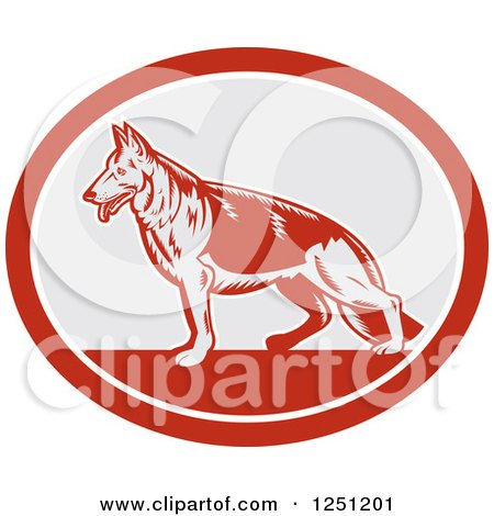 Clipart of a Retro Woodcut German Shepherd Dog in a Gray and Red Oval - Royalty Free Vector Illustration by patrimonio