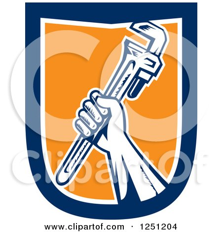 Clipart of a Retro Woodcut Hand Holding up a Spanner Wrench in a Blue White and Orange Shield - Royalty Free Vector Illustration by patrimonio