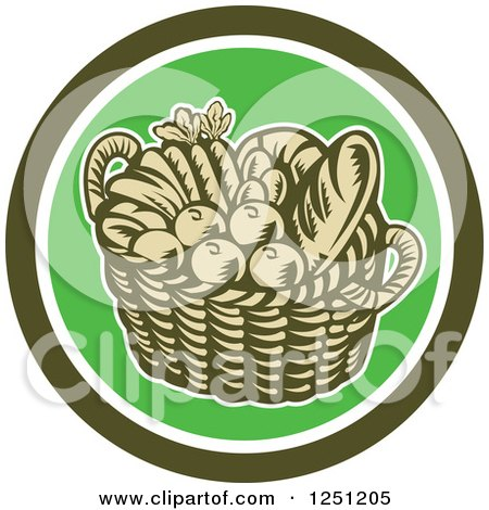 Clipart of a Retro Woodcut Basket of Fruit and Bread in a Green Circle - Royalty Free Vector Illustration by patrimonio