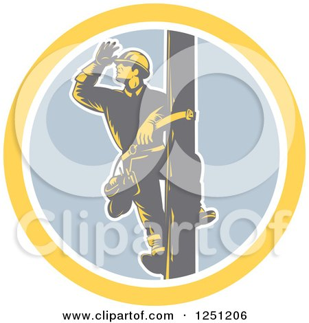 Clipart of a Retro Woodcut Male Power Lineman Looking out on a Pole in a Circle - Royalty Free Vector Illustration by patrimonio