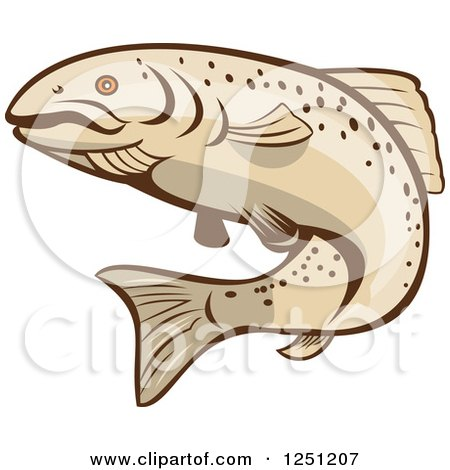Clipart of a Rainbow Trout Fish - Royalty Free Vector Illustration by patrimonio