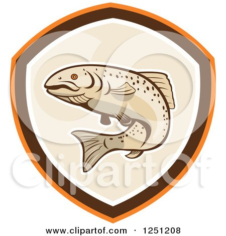 Clipart of a Rainbow Trout in a Tan Brown and Orange Shield - Royalty Free Vector Illustration by patrimonio
