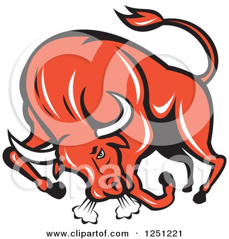 Clipart of a Retro Red Angry Bull Charging - Royalty Free Vector Illustration by patrimonio