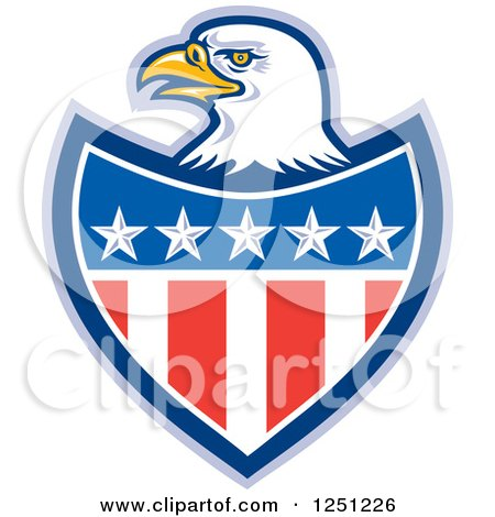 Clipart of a Bald Eagle Head over an American Flag Shield - Royalty Free Vector Illustration by patrimonio
