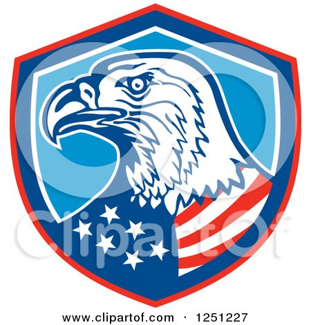 Clipart of a Bald Eagle American Flag in a Shield - Royalty Free Vector Illustration by patrimonio