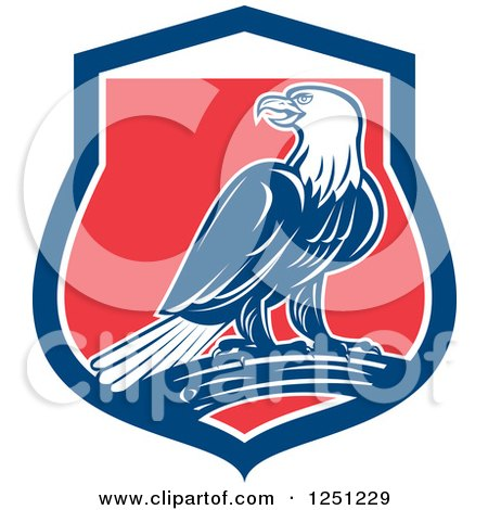 Clipart of a Retro Bald Eagle in a Red White and Blue Shield - Royalty Free Vector Illustration by patrimonio